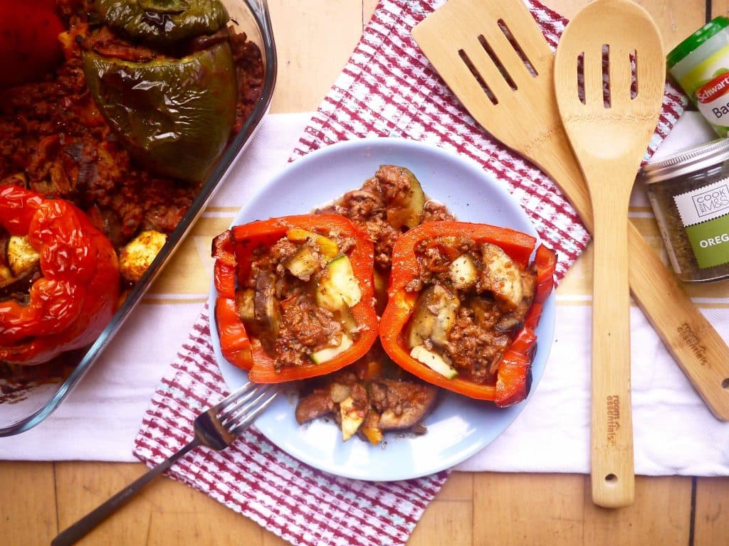 Ratatouille Meat Sauce Stuffed Peppers (paleo, GF)| Perchance to Cook, www.perchancetocook.com